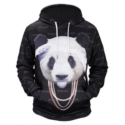 Male Cute Comfortable 3D Panda Printing Hooded Sweatshirt