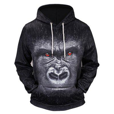 Male Cool 3D Printing Hooded Sweatshirt