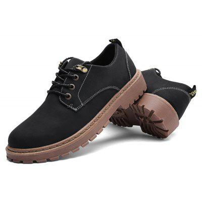 Male Solid Color Soft Retro Stitching Casual Leather Shoes