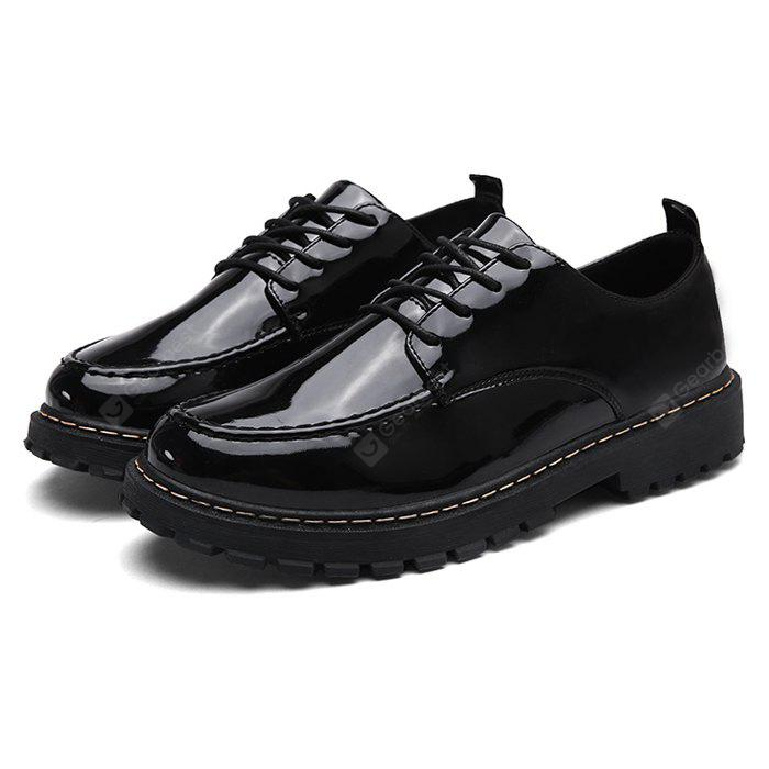 Male Simple Comfortable Glossy Soft Casual Leather Shoes