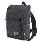 Men Outdoor Leisure Canvas Backpack - BLACK