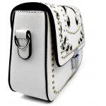Women Stylish Rivet Embroidery Shoulder Bag - WHITE