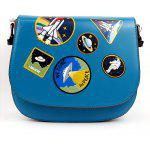 Women Stylish Pattern Printed PU Shoulder Bag - BLUE