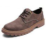 Male Solid Color Soft Retro Stitching Casual Leather Shoes - BROWN