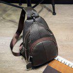 Men Leisure Leather Shoulder Bag - COFFEE