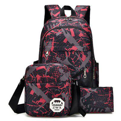 3Pcs Men Stylish Printed Water-resistant Bag