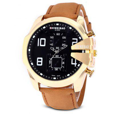 SHI WEI BAO A1445 Quartz Men Watch with Leather Band