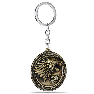 Classic Round Medal Pendant Metal Key Chain