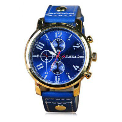 OTSEA 4077 Casual Leather Band Men Quartz Watch