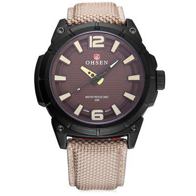 Buy BLACK OHSEN TX2905 Casual Canvas Band Men Quartz Watch for $19.56 in GearBest store