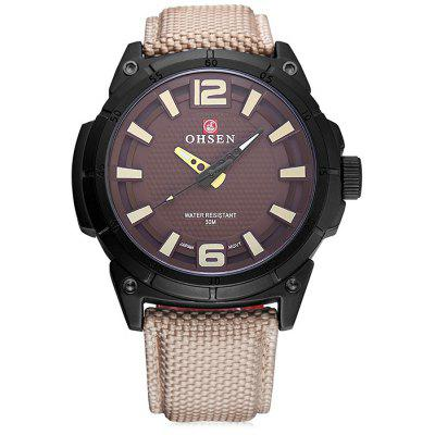 OHSEN TX2905 Casual Canvas Band Relógio Quartz Masculino