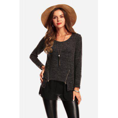 Fake Two Pieces Zip Lace Split Joint T-Shirt for Women
