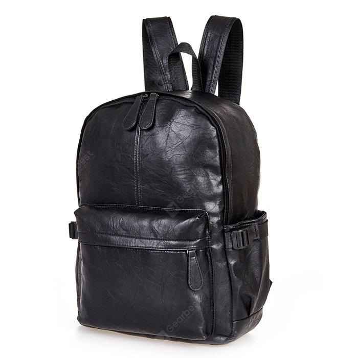 Men Stylish Retro Solid Color PU Backpack
