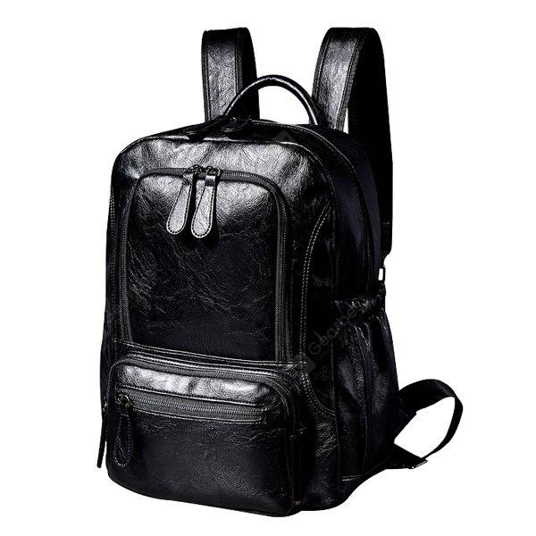 Fashion Male Solid Color PU Backpack