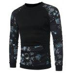 Casual Long Sleeve Printing Stitching Sweatshirt - BLACK