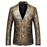 Male Stylish Two Buttons Blazer Jacket - GOLDEN