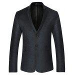 Stylish Slim Fit Two Buttons Blazer Jacket - BLACK