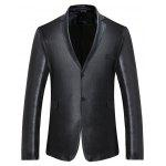 Classic Slim Fit Two Buttons Blazer Jacket - BLACK
