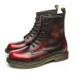 Fashionable Genuine Leather Martin Boots for Men - WINE RED