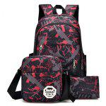 3Pcs Men Stylish Printed Water-resistant Bag - RED