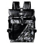 Men Chic Camouflage PU Backpack - BLACK