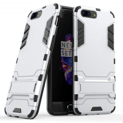 Buy SILVER Luanke Drop-proof Phone Stand Back Case for OnePlus 5 for $4.09 in GearBest store