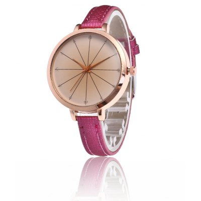 Exquisite PU Band Alloy Dial Women Quartz Watch