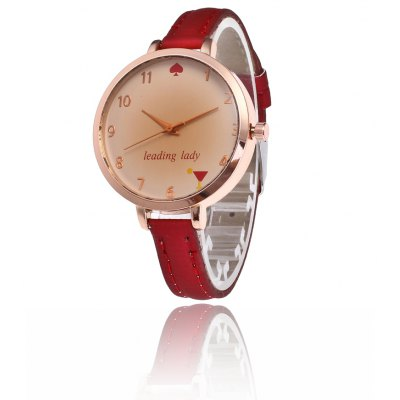 Trendy Beautiful PU Band Women Quartz Watch