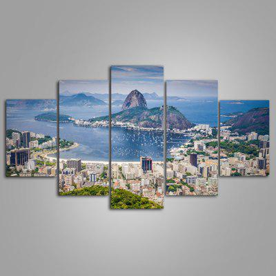 Buy COLORMIX 5PCS YSDAFEN City Sea View Printed Painting Canvas Print for $55.37 in GearBest store