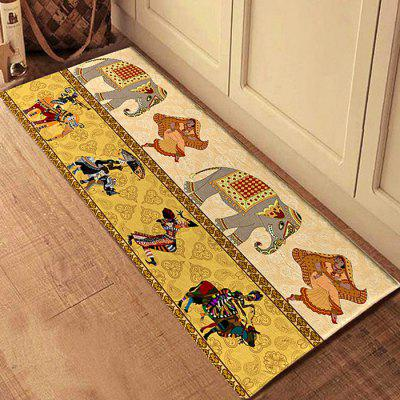 3D Printing Retro Elephants Pattern Bath Mat Floor Carpet Non-Slip Area Rug