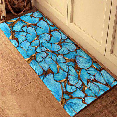 3D Printing Blue Butterflies Pattern Bath Mat Floor Carpet Non-Slip Area Rug
