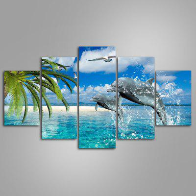 Buy COLORMIX 5PCS YSDAFEN Beautiful Dolphins Painting Canvas Print for $55.37 in GearBest store