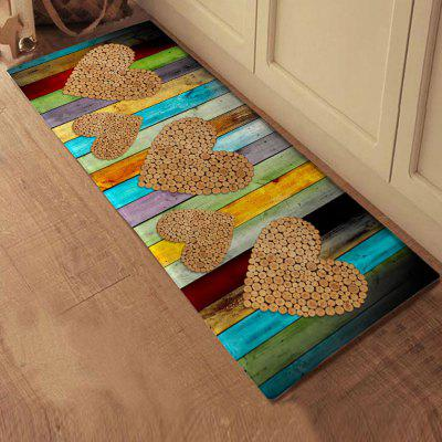 Wood Grain Pattern Heart Design Non-slip Bathroom Mat