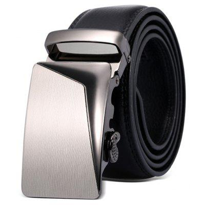 Men Chic Automatic Buckle Genuine Leather Trouser Belt