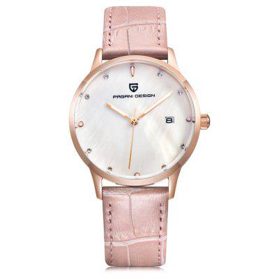 PAGANI DESIGN 2724L Leather Band Women Quartz Watch