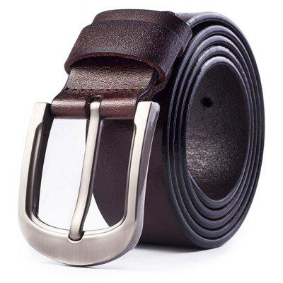 Genuine Leather Waist Belt with Pin Buckle for Men