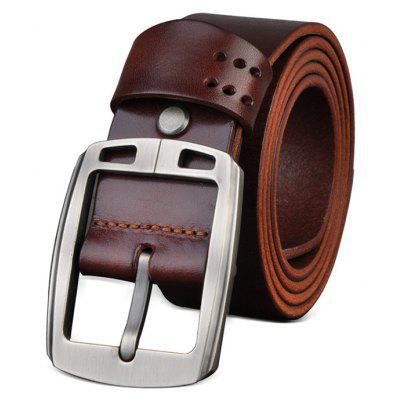 Genuine Leather Chic Pin Buckle Trouser Belt for Men