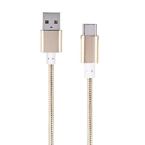 3m Braided Cord Type-C USB 2.0 Data Sync Charging Cable GOLDEN