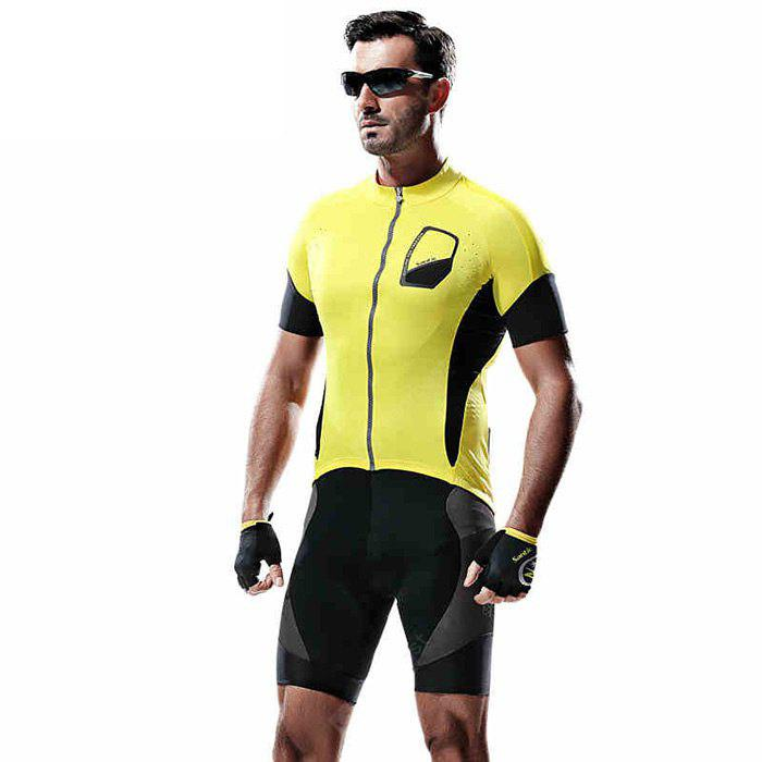 YELLOW Santic M5C02074Y Male Summer Cycling Short Sleeves