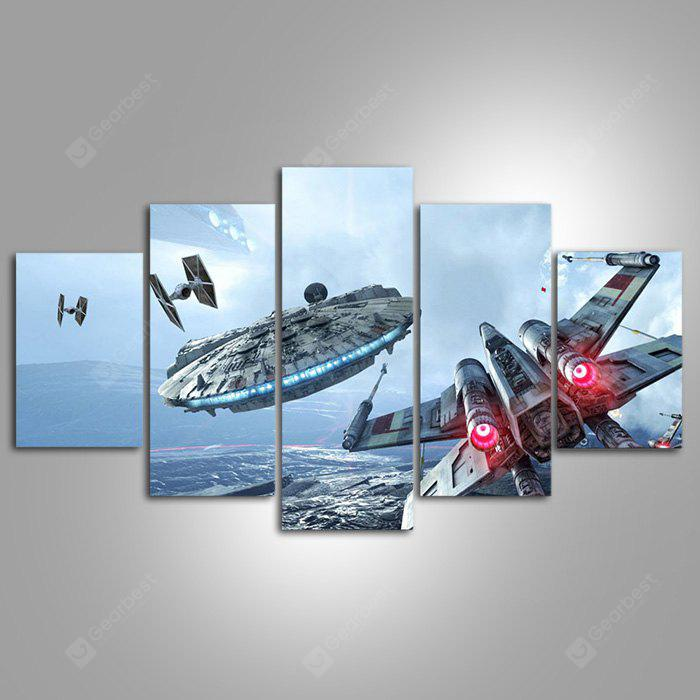 5PCS YSDAFEN Sky Aircraft Printed Painting Canvas Print