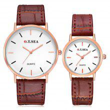 O.T.SEA 6688 Stylish Leather Band Couple Quartz Watch