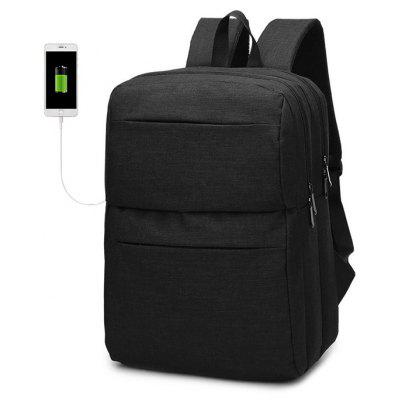 Buy BLACK Men Chic Water-resistant Laptop Backpack with USB Port for $28.12 in GearBest store