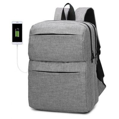 Buy GRAY Men Chic Water-resistant Laptop Backpack with USB Port for $28.12 in GearBest store