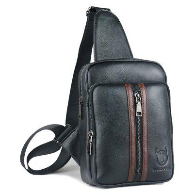 Buy BLACK Men Stylish Splicing Genuine Leather Shoulder Bag for $51.48 in GearBest store