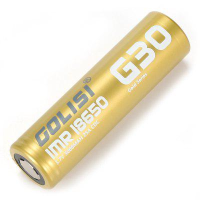 Golisi G30 3.7V / 3000mAh 18650 Li-ion BatteryVapor Batteries<br>Golisi G30 3.7V / 3000mAh 18650 Li-ion Battery<br><br>Battery Form Factor: 18650<br>Battery Type: Li-ion Battery<br>Brand: GOLISI<br>Material: Others<br>Package Contents: 1 x 18650 Battery<br>Package size (L x W x H): 7.70 x 4.40 x 2.30 cm / 3.03 x 1.73 x 0.91 inches<br>Package weight: 0.0660 kg<br>Product size (L x W x H): 1.80 x 1.80 x 6.50 cm / 0.71 x 0.71 x 2.56 inches<br>Product weight: 0.0450 kg<br>Style: Rechargeable<br>Type: Batteries