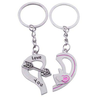 Buy SILVER 2PCS Stylish Heart Pattern Lovers Key Chain for $2.51 in GearBest store