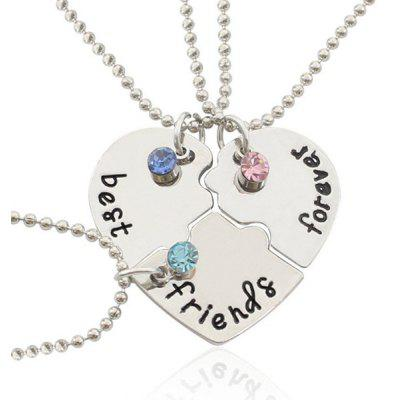 3PCS Heart Style Best Friend Necklace