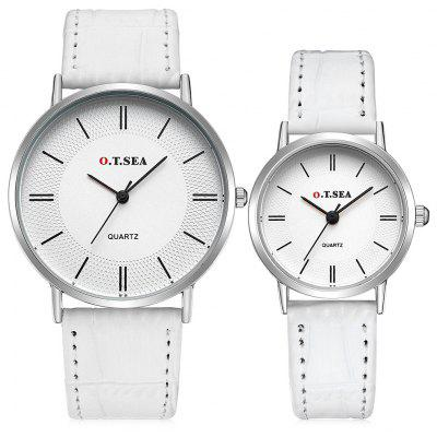 O.T.SEA 66885 Stylish Leather Band Couple Quartz Watch