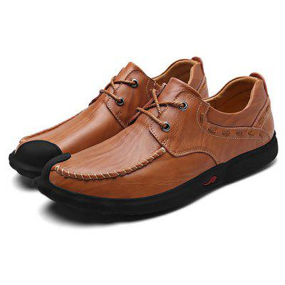 Buy DARK AUBURN Male Business Soft Slinky Manual Casual Oxford Shoes for $41.57 in GearBest store