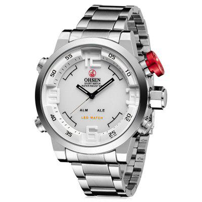 OHSEN AD1608 Trendy Steel Band Men Quartz WatchMens Watches<br>OHSEN AD1608 Trendy Steel Band Men Quartz Watch<br><br>Band material: Steel<br>Band size: 22 x 2.1cm<br>Brand: OHSEN<br>Case material: Alloy<br>Clasp type: Sheet folding clasp<br>Dial size: 5 x 5 x 1.5cm<br>Display type: Analog<br>Movement type: Quartz watch<br>Package Contents: 1 x Watch, 1 x Box<br>Package size (L x W x H): 28.00 x 8.00 x 3.50 cm / 11.02 x 3.15 x 1.38 inches<br>Package weight: 0.2190 kg<br>Product size (L x W x H): 22.00 x 5.10 x 1.90 cm / 8.66 x 2.01 x 0.75 inches<br>Product weight: 0.1590 kg<br>Shape of the dial: Round<br>Watch mirror: Mineral glass<br>Watch style: Cool, Fashion, Casual<br>Watches categories: Men